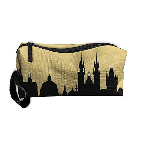 Jessent Coin Pouch Prague City Skylines Pen Holder Clutch Wristlet Wallets Purse Portable Storage Case Cosmetic Bags Zipper