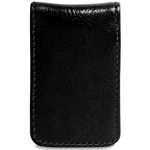 Jack Georges [Personalized Initials Embossing] Sienna Leather Money Clip in Black