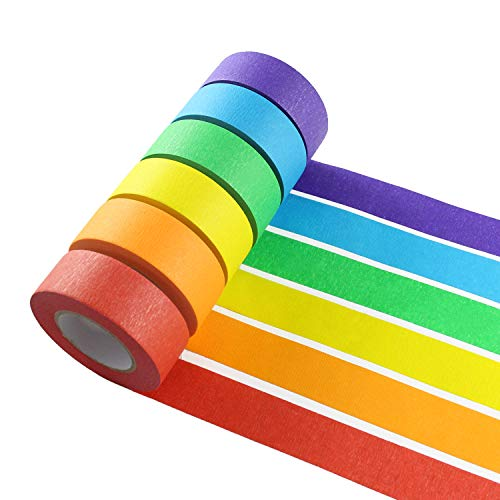 Colored Masking Tape - Colored Masking Tape, 6 Pieces 1 Inch x 22 Yard Rainbow Masking Tape Labelling Tape, Assorted Color Coded & Kids DIY Art Supplies, Home Decoration, Office Supplies