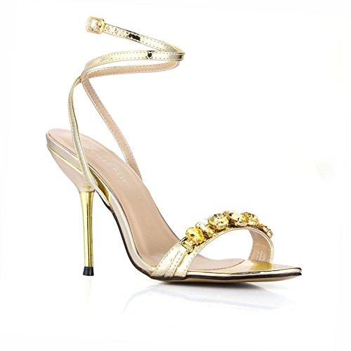 grandes Gold Nouvelles Sandales banquet talon d'eau de de Pale blond forage clair ceinture femme chaussures chaussure TZxCqgvTw
