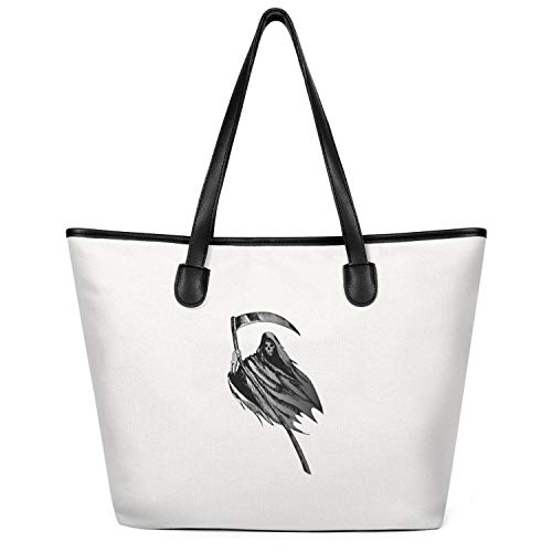 Ladies Taro-skull-first-halloween- Canvas Tote Large Capacity Bag Foldable Shopper Handbag Creamy-White]()