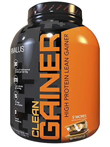 Rivalus S'Mores Clean Gainer, 5 lb - Delicious Lean Mass Gainer with Premium Dairy Proteins, Complex Carbohydrates, Quality Lipids, No Banned Substances, Made in (Lean Mass Complex Protein)