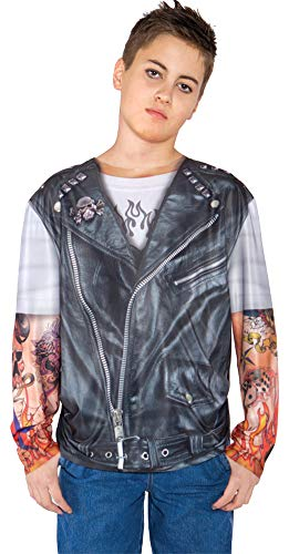SALES4YA Boys Biker Shirt Kids Costume Medium 6-8 Boys Costume