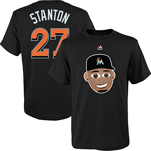 Black Derek Jeter Baseball Bat - Giancarlo Stanton #27 Miami Marlins Youth Emoji Player Name and Number Tshirt (Youth Large 14/16)