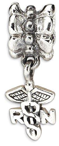 ICE CARATS 925 Sterling Silver Charm For Bracelet Caduceus Angel Nursing Rn Registered Nurse Symbol Dangle Bead Career Hobby