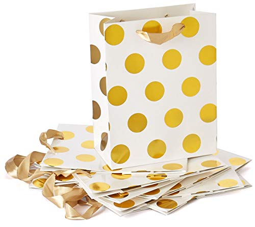 Style Design (TM) Dozen Gift Bags - 12 Beautiful Large Kraft Gift Bags for Presents, Parties or Any Occasion with Hot Stamp (Large, White with Gold Polka Dots)