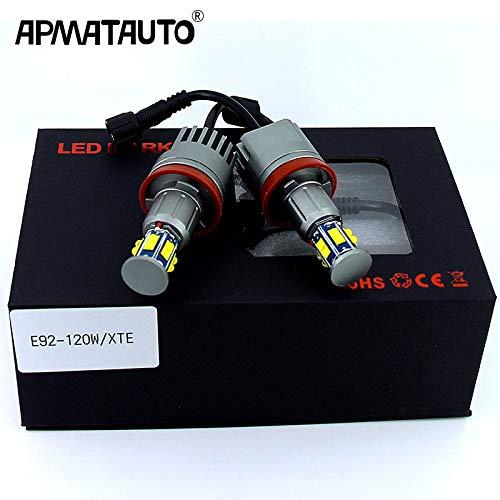 Juego de 2 luces LED de 120 W, 240 W, E92 H8, para BMW X5, E70, X6, E71, E90, E91, E92, M3, E89, E82, E87, Blanco