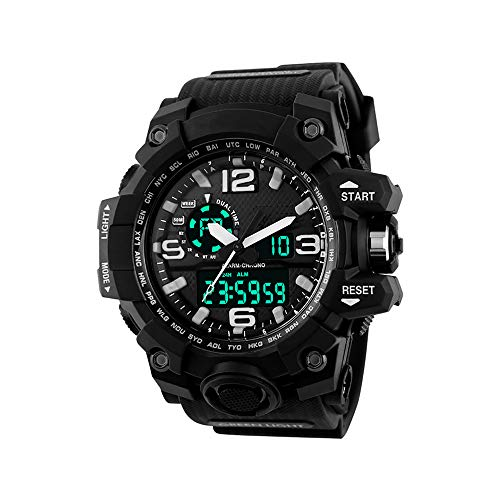 XFCS Men's Large Dial Digital Watch Waterproof Military Sport Watches for Men(Black)