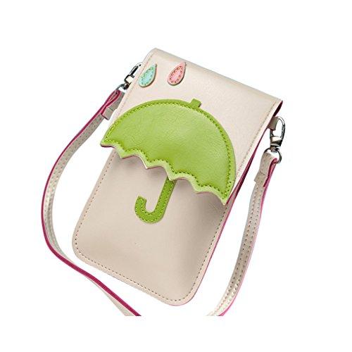 Mini Cartoon Sac Messenger épaule Poches Place bandoulière Carte de téléphone Porte-monnaie Porte-monnaie femme Container Republe Petit Parapluie et Beige