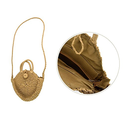 mujer bandolera ideal viaje redondo Mujer niña nbsp;– Bolso redondo para saco regalo bolsa de de vacaciones nbsp;Bolso fancylande playa pajita Paja aHx7qw6