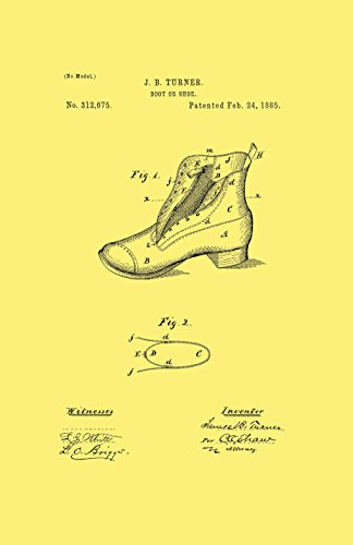 Framable Patent Art the Original Poster Art Print Footwear Shoe Boot 11in by 17in Patent Vintage PAPSSP112VC, Cream