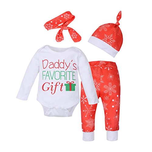 DaySeventh Newborn Baby Outfits Christmas Print Romper+Pants+Hat+Headband Clothes Set (12M, White)