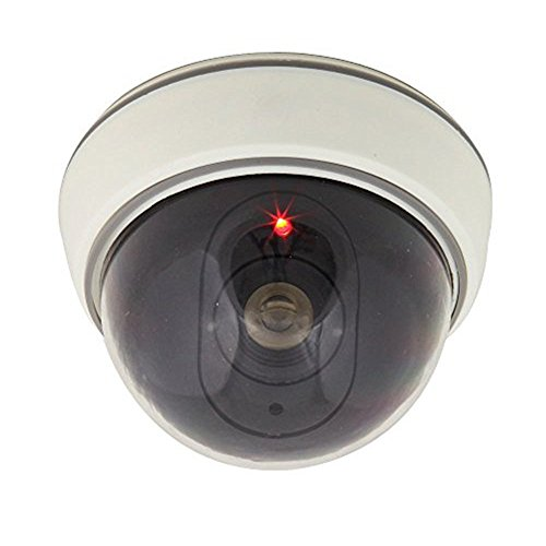 LingsFire White Wireless Fake Dummy Dome CCTV Security Camera with Flashing Red LED light for House or Office Mall.
