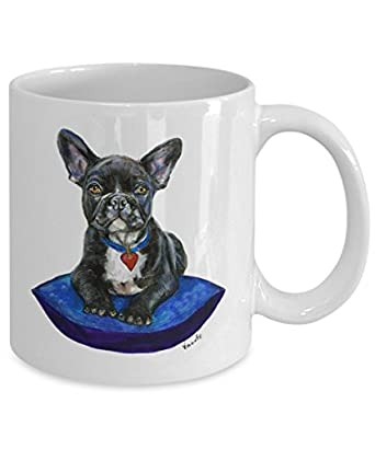 Black French Bulldog on Cushion Mug - Style No.9 - BLUE - Cute Ceramic Frenchie Coffee Cup (11oz)