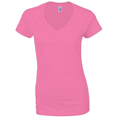 Gildan Softstyle - Camiseta Camiseta con cuello de pico. Azalea