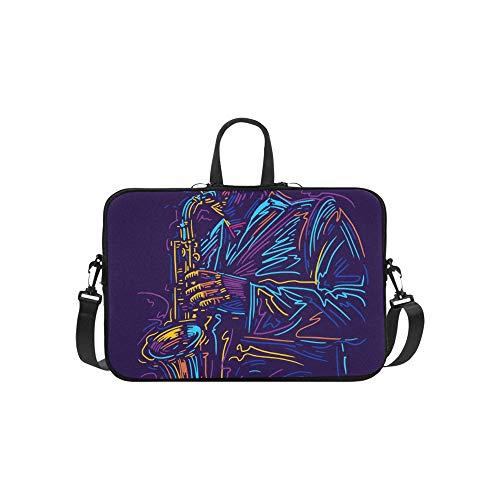 (Saxophone Solo Performance Pattern Briefcase Laptop Bag Messenger Shoulder Work Bag Crossbody Handbag for Business Travelling)