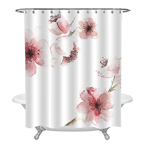 MitoVilla Spring Floral Shower Curtain for Women, Chinese Watercolor Pink Cherry Blossom Print, Waterproof Resistant Fabric Bathroom Decoration with Hooks, 72 Inch - Blossom Shower Curtain Cherry