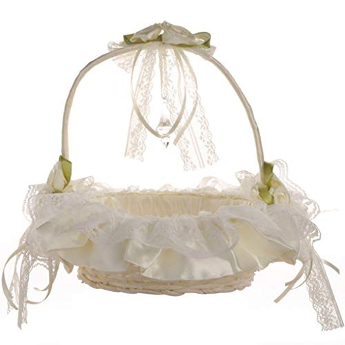 NewKelly New Rose Flower Girl Basket Romantic Bowknot Silk Cloth Wedding Ceremony Party