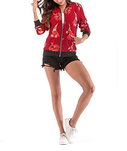 E Manica Corto Primavera 1 Autunno Donna Outerwear Cappotto Onlyoustyle Rosso Jacket Lunga Moda Stampa Giacca Casual Bomber Coat Giacche Tops Baseball Blouse xIwqUf7