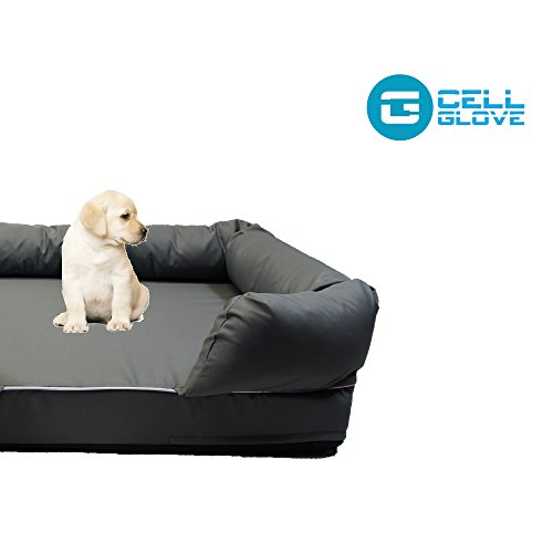 Cell Glove Friendly Paws Premium Pet Bed & Lounge in Solid Memory Foam, Comfortable and Sturdy (Large, Slate Gray)