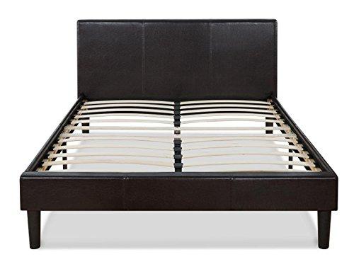 faux leather upholstered platform bed with wooden slats queen. Black Bedroom Furniture Sets. Home Design Ideas