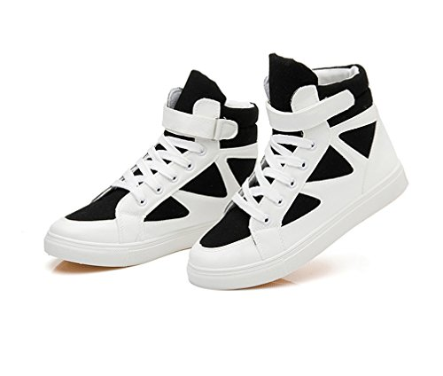 Da Top High Loop Piatte Fashion Up Hook Ginnastica Scarpe Nero E Vecjunia Lace Bianco Ladies In q80anqvB