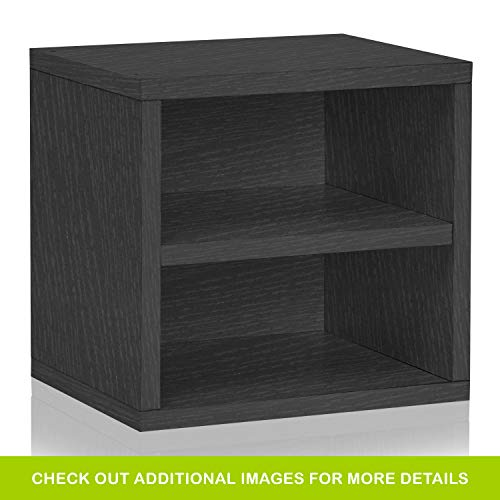 Way Basics Eco Stackable Connect Storage Cube with Shelf Cubby Organizer, Black Wood Grain (Tool-Free Assembly and Uniquely Crafted from Sustainable Non Toxic zBoard Paperboard) ()