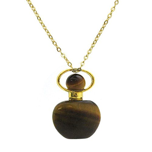 Kate Avenue Gold over Sterling Silver Mini Apple Shaped Gemstone Aromatherapy Essential Oil Diffuser Necklace, Perfume, and Mosquito Repellent Necklace (tiger-eye)