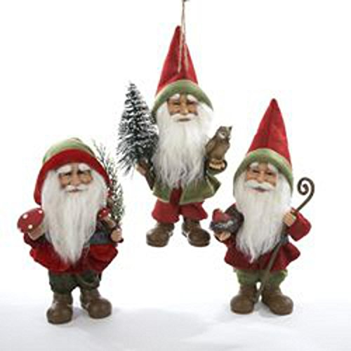 Woodland Garden Gnome - Set of 3 Storybook Garden Red and Green Woodland Gnome Christmas Ornaments