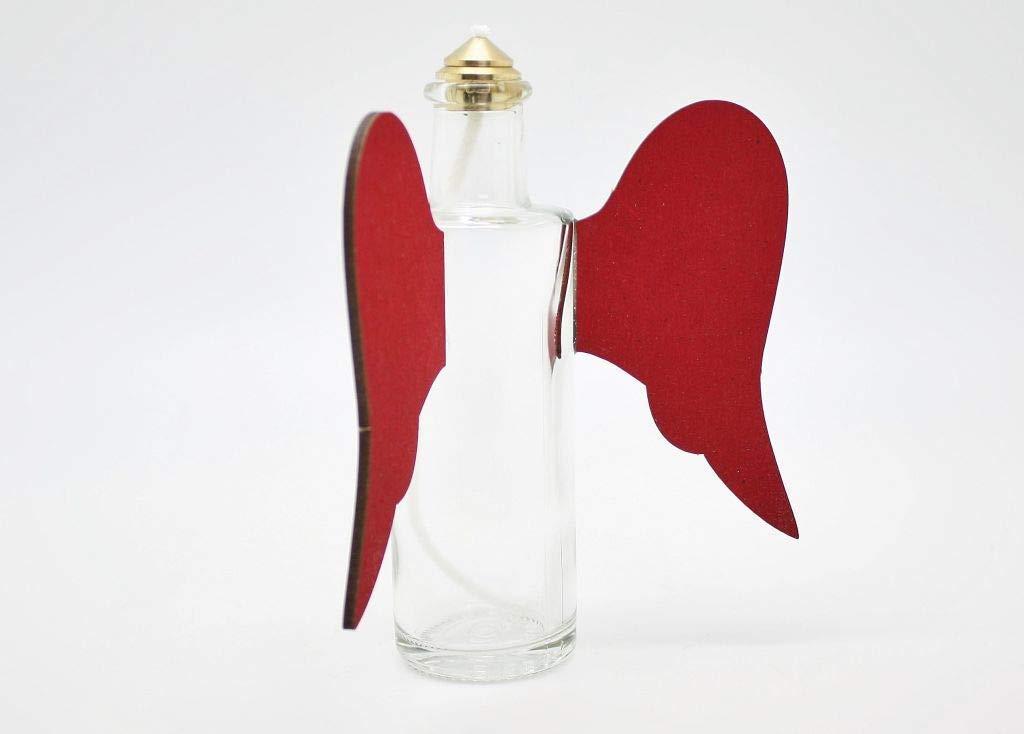 Glas-/ÖllampePaulina filigrane /Öllampe mit Engelsfl/ügeln /& kindergesichertem Dochthalter