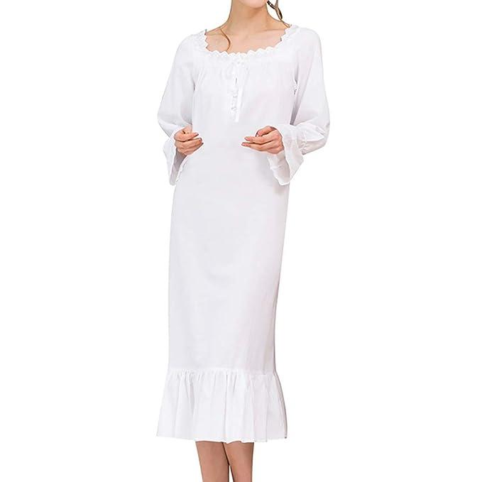 Sylar Ropa Interior Pijama De Babydoll,Simple Color Sólido Ruffle Manga Larga Vestido De Camisón Pijama De Vestido De La Princesa Clásica S-XL: Amazon.es: ...
