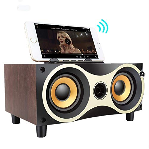 Bluetooth Speaker,Portable Wooden Wireless Speaker Subwoofer Stero Bluetooth Speakers Radio Fm Desktop Caixa De Som for iPhone Android (Bluetooth Som Caixa Apple De)