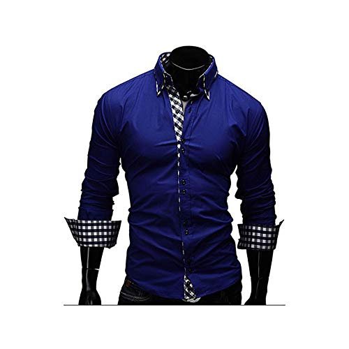 (IYFBXl Men's Business Cotton Slim Shirt - Solid Colored Spread Collar/Long Sleeve/Spring/Fall/Work,Royal Blue,M)