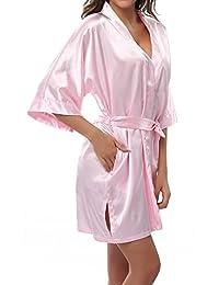ABC-STAR - Bata Kimono de color sólido con elegante y atractivo diseño para mujeres, corto