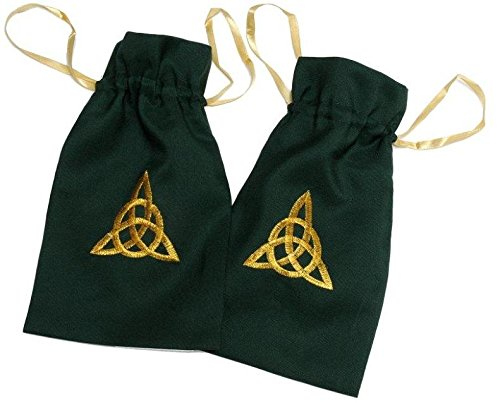 Pair of Large Eternity Knot Design Bags in Green Color -