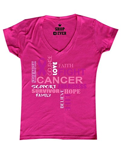 Cancer Pink T-shirt Womens Survivor (Breast Cancer Support Women's V-Neck T-shirt Cancer Awareness Shirts Large Pink WS 17533)