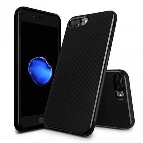 iPhone 7Plus stoev esandt effetto carbonio Custodia Silicone antiurto Custodia Case Cover Nero