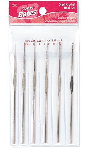 Susan Bates Steel Crochet Hook Set Sizes 0-10 (Bates Steel Hook)
