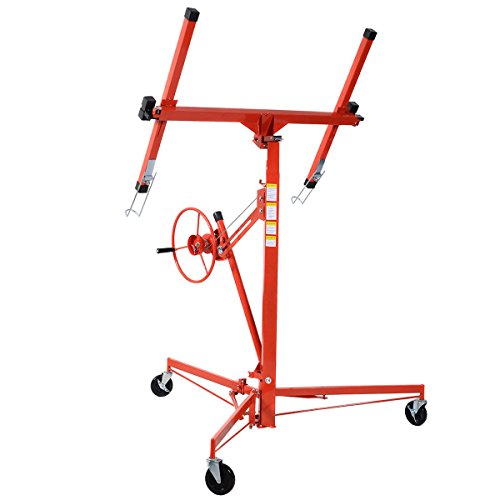 Drywall Lift 11' Lift Panel Hoist Dry Wall Jack Rolling Caster Lockable Lifter Construction Tool (Rolling Stilts)