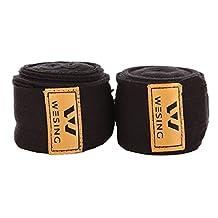 """197"""" Premium Elastic Hand Wraps Boxing Muay Thai MMA Bandage - Black (Pair)"""