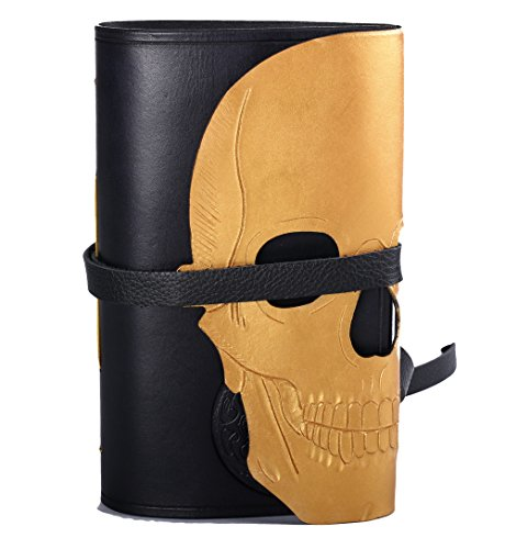 Skull journal in gold and black hand carved with blank or lined pages. Free initials by Skrocki Designs: fine leather and artisan jewelry