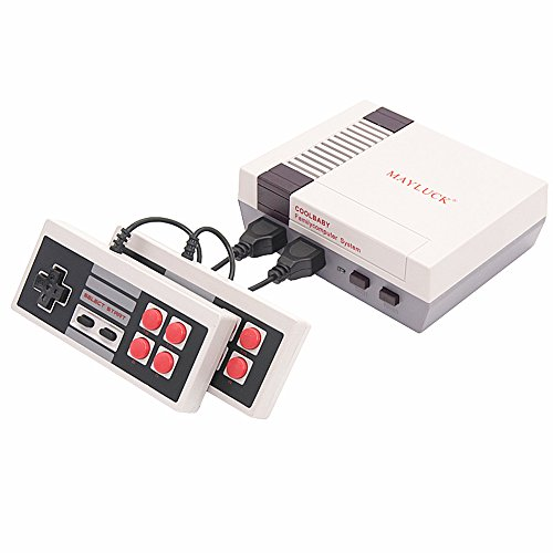 MAYLUCK Mini Video Game Consoles Classic Game System Family Computer Double Controller With Built in 600 Games PAL & NTSC