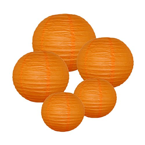 Just-Artifacts-RED-ORANGE-ChineseJapanese-Paper-Lanterns-Assorted-2-8inch-2-12inch-1-16inch-Click-for-more-colors