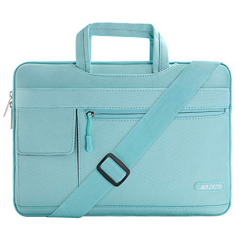MOSISO Laptop Shoulder Bag Compatible with 15-15.6 inch MacBook Pro, Ultrabook Netbook Tablet, Polyester Flapover Protective Messenger Briefcase Carrying Handbag Sleeve Case Cover, Mint Blue