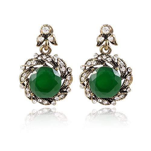 Stud Earrings - 1 Pair Lady Charm Flower Crystal Green Rhinestone Pendant Stud Earrings For Wedding Party Jewelry - Earrings For Women
