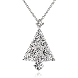 Silver-Plated Crystal Tree Pendant Necklace, 18""