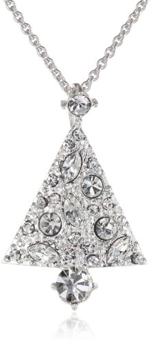 Silver-Plated Crystal Tree Pendant Necklace, 18