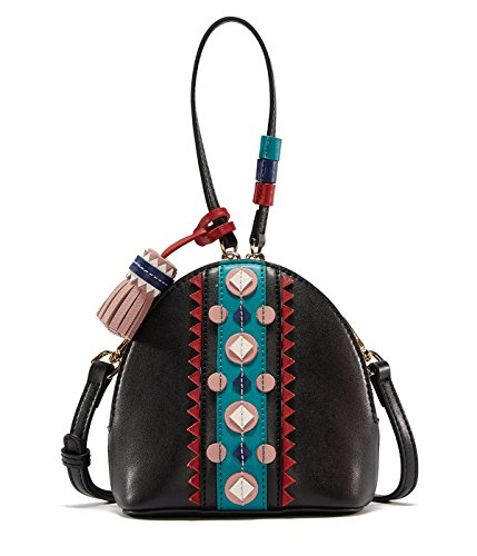 EMINI HOUSE Vintage Leather Purse with Tassels Indian Style Niche Chic Bowler Bag Crossbody Bags for Women Purses and Handbags Black (Bowler Leather Handbag)