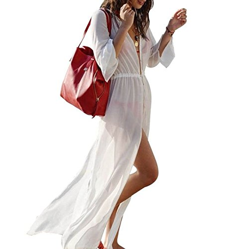 Jeasona Women's Long Sleeves White Chiffon Maxi Bathing Suits Beach Cover up