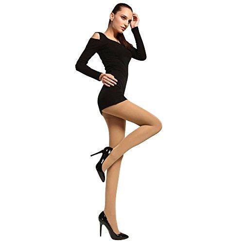 ALK Women's Shiny High Waist Breathable Pantyhose Stockings Beige